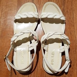 Prada White Braided Sandals Low Heel 37